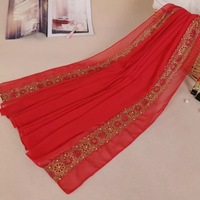 Long Women's chiffon scarves wraps shawl hot drilling and nail beads Soft and hijab fashion arabic scarfs