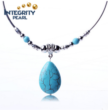 National restoring ancient droplets form ancient silver turquoise necklace jewelry pendant