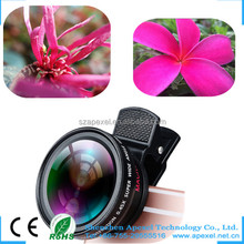 factory rent in China 2016 new gadgets mobile camera clip-on 0.45x wide angle super macro 2 in1lens kit