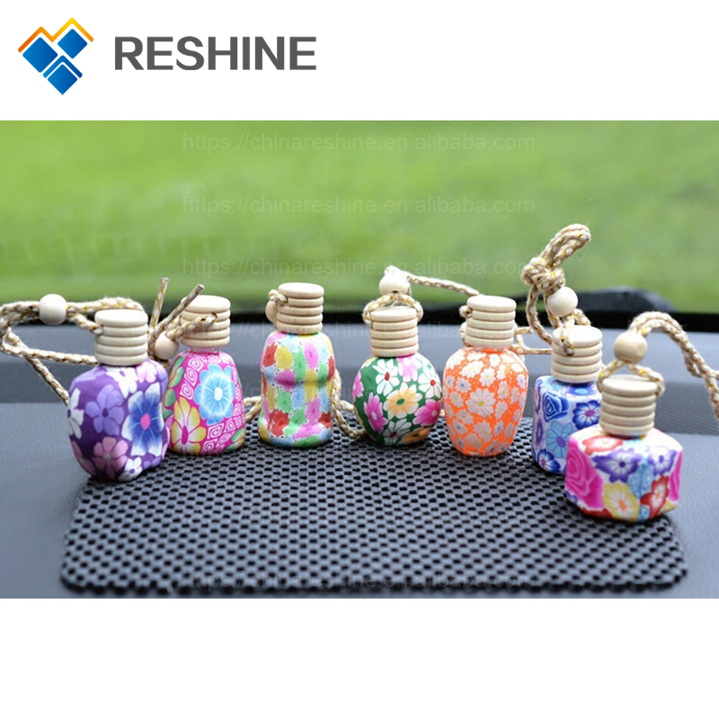 Mix Design Craft Car Perfume Bottle Hanging Cute Air Freshener Carrier Home Fragrance Clay Bottle with Wood Cap Wholesale