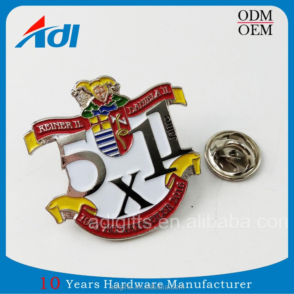 custom 3D clothing brand alphabet metal lapel pin bedges for sale