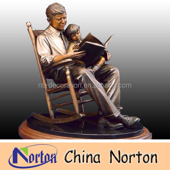 bronze statue/ Casting life size bronze statue/ bronze man and boy statue NTBH-S015