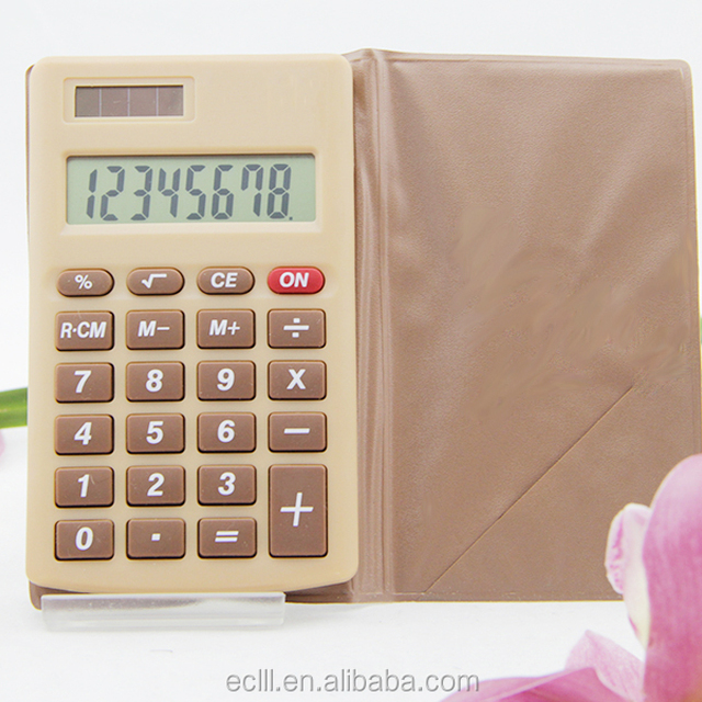 Mini pocket calculator with leather case