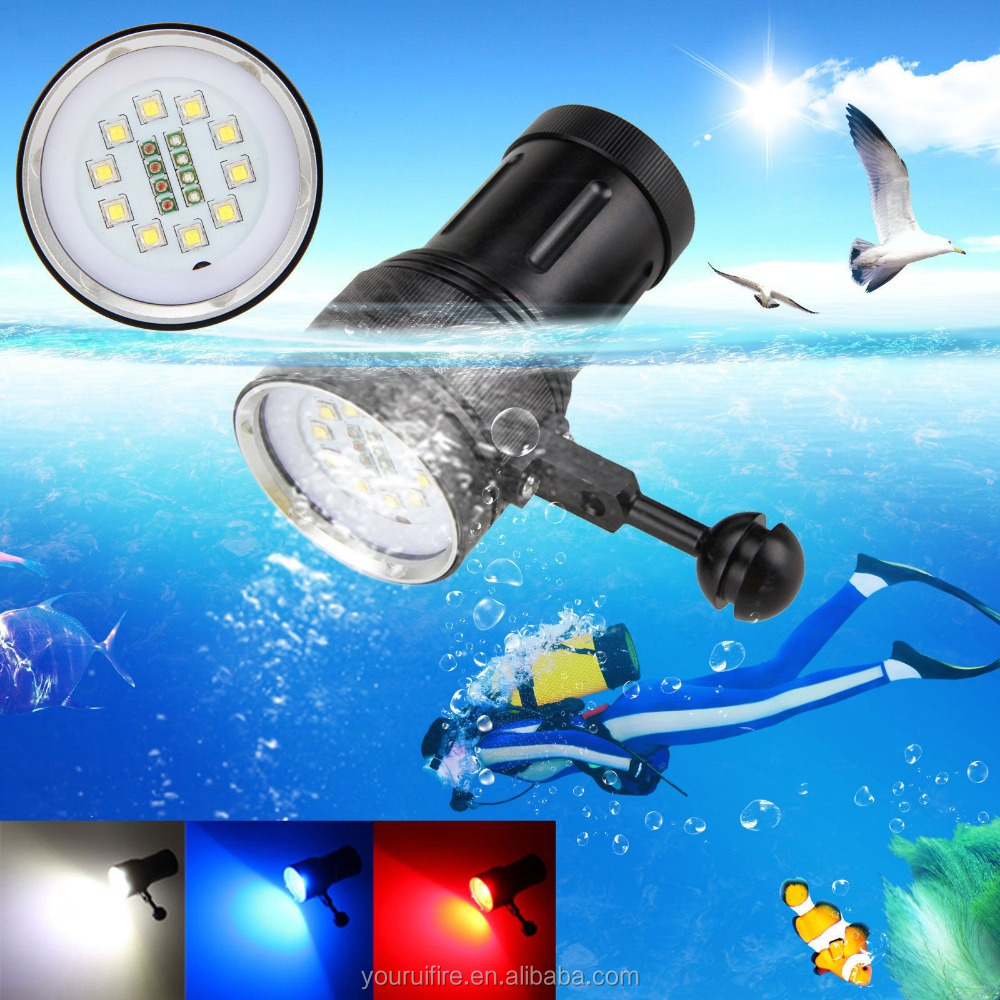 10x XM-L2+4xRed+4xUV <strong>LED</strong> Photography Waterproof Scuba Dive Flashlight Torch