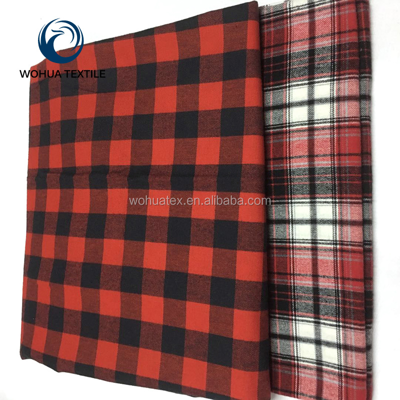 Yarn Dyed 100% Cotton Flannel/Brushed Twill Check/Plaid Fabric