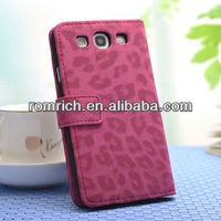 luxury leopard print pattern leather wallet flip ladies purse case for Samsung Galaxy S3 i9300