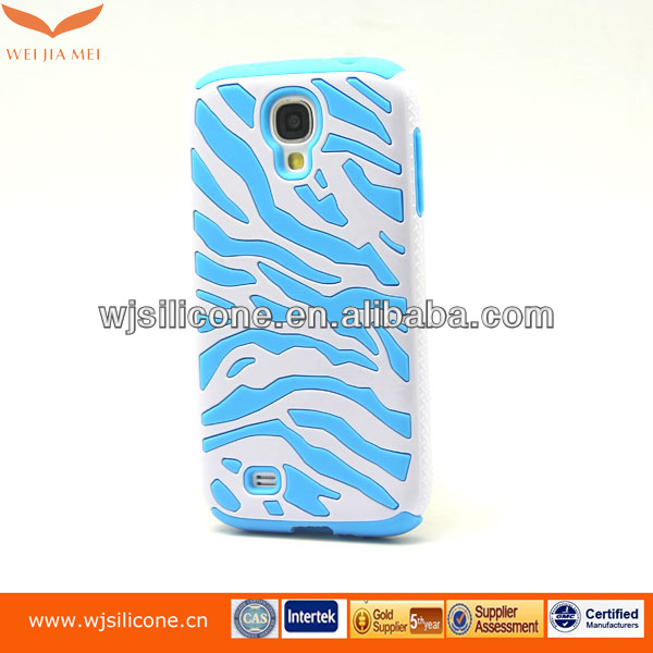 silicone with pc blue cell phone case 3d for samsung s4