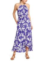 Hot Fashion Printing Ripple Maxi Dress Fancy Kaftans Abaya Plus Size Ikat Bloom Ripple Maxi Dress