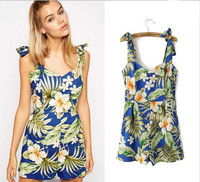New Arrival Floral Printing Summer Women's Dress Sexy Backless Short Mini Beach dress
