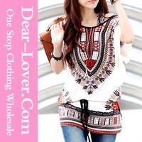 Exotic Print Batwing Chiffon Patch Work Ladies Blouse designs
