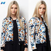 New Lady Womens Long Sleeve Retro Printed All-match Short Coat Jacket