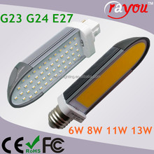 SMD plc 2 pin led g24 lamp, 11w 13w led pl lamp, g24d led bulb for cfl replacement