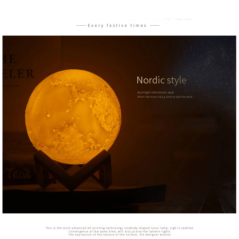 2018 Hot sale 3D LED moon lamp yellow and White Dimmable Home Decoration Light