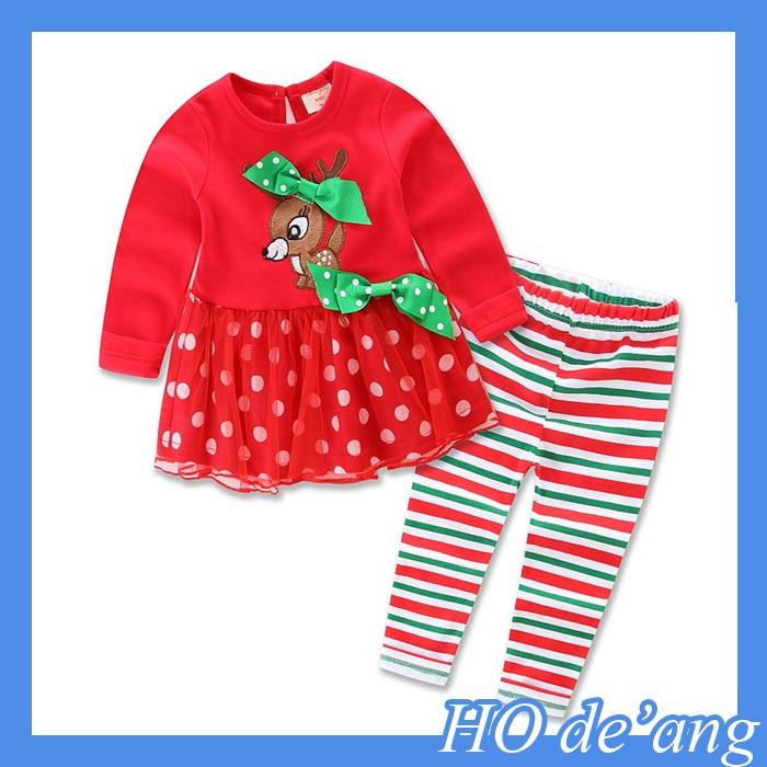 Wholesale In Stock Kid Clothes Children's Christmas 100% Cotton Clothing Sets