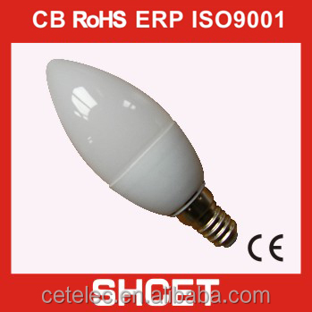 cet-017 candle shape light dimmable 330 degree beam angle china 3w led bulb