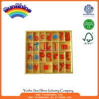 Montessori materials Wood Educational Toys Small Movable Alphabet, Wood , language
