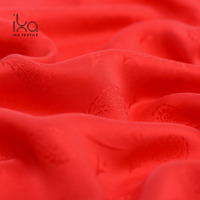 Plain Dyed Red Washable Thick 100% Silk Brocade Paisley Jacquard Fabric for Dress