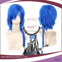 High quality dark blue synthetic vocaloid kaito ponytail cosplay wigs