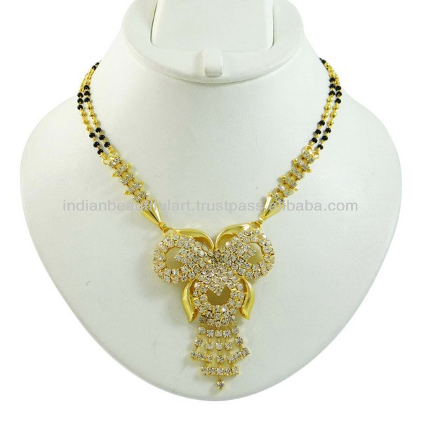 Black Beaded CZ Chain Pendant Mangalsutra Bridal Necklace Gold Tone Jewelry