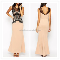 The perspective of splice lace super long dress / fashionable new evening gown(PY0134)