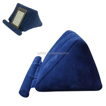 blue inflatable tablet wedge stand, portable flocking inflatable cell phone holder for desk