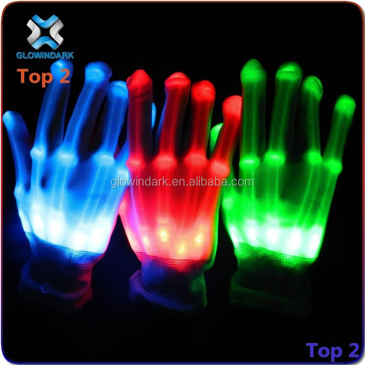 LED flashing magic light up nylon gloves for party