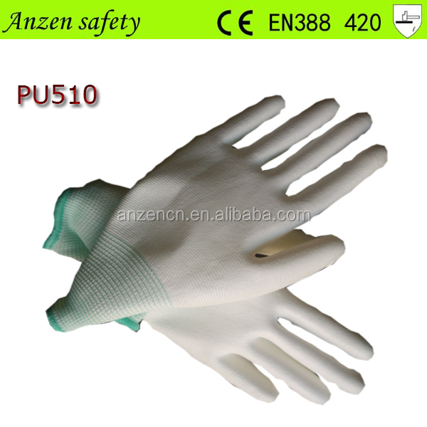 protective safety white pu coated electrical hand glove