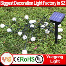 Wholesale 10m 60leds solar powered decoration garden balls light RGB solar christmas light with star CE ROHS certification