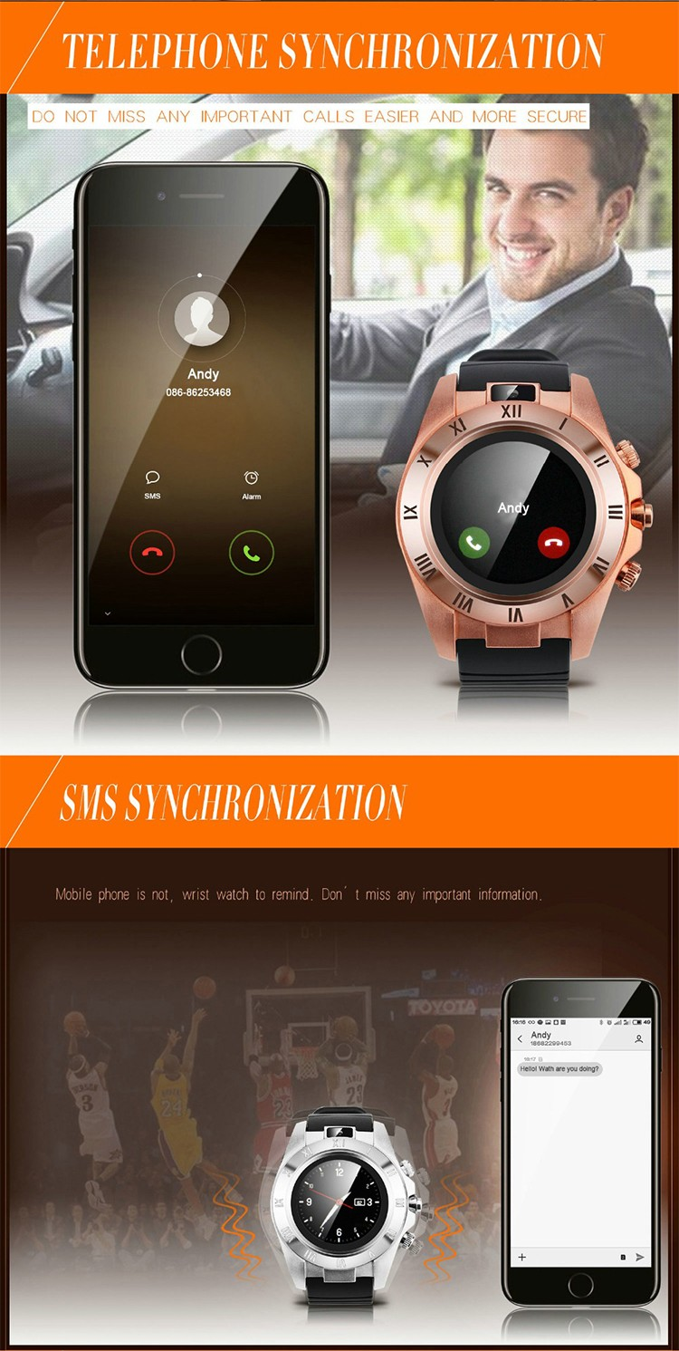 "S5 1.54"" capacitive IPS full lamination processing BT 3.0 remote Music alarm Clock call history phone reminder watch"