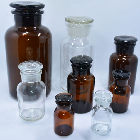 Laboratory Glassware Amber Reagent Bottle Wide Mouth with Ground-in