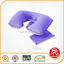 inflatable flocked beach/jumping/water/travel neck pillow with eye mask/ear plug