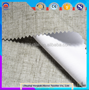 flame retardant 3 pass coated blackout linen polyester curtain fabric