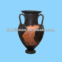 black clay amphora flower pot for home decor
