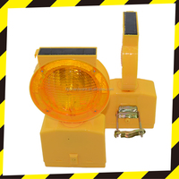 High Efficiently solar LED traffic warning yellow/amber flashing light barricade lamp for road safety cone with solar charge