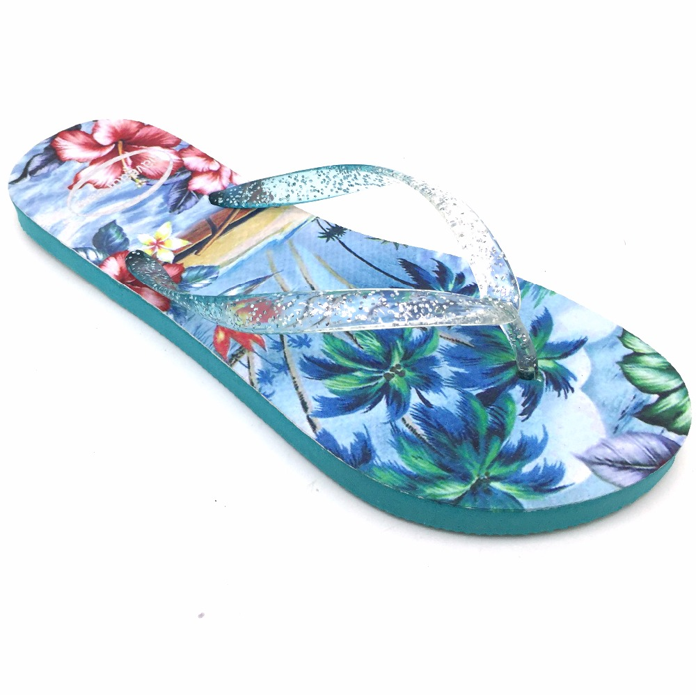 High quality 3D printing beautiful design women beach slippers plain wedge flip flops women brand flip flop logo