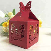 Tower laser cut paper wedding candy box with butterfly