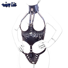 Open Bust Crotchless Sex Teddy Bondage Lingerie With Rivet Leather Sexy Body Harness BDSM Sex Toys