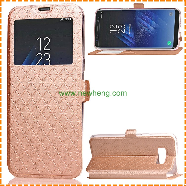 quilting Pattern PU Leather Flip Window Smart phone Case For Samsung S8