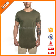 Top quality Chinese Oem factory 100% cotton mens wholesale slim fit bodybuilding long line curved hem t shirt for summer