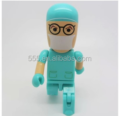 Hot sale plastic doctor shaped usb flash drive with free logo for promotion