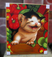 Canvas cat painting smiling cats reproduction oil painting