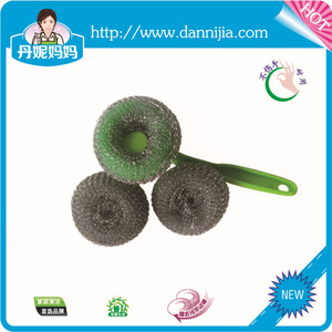 Jenny mom kitchen cleaning steel wool scourer with long plastic handle