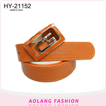 2016Yiwu plain strap belt pu leather tide ladies belt with personality buckle belt