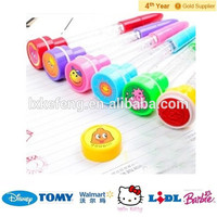 LED Light up pen children's toy with bubbles and stamp