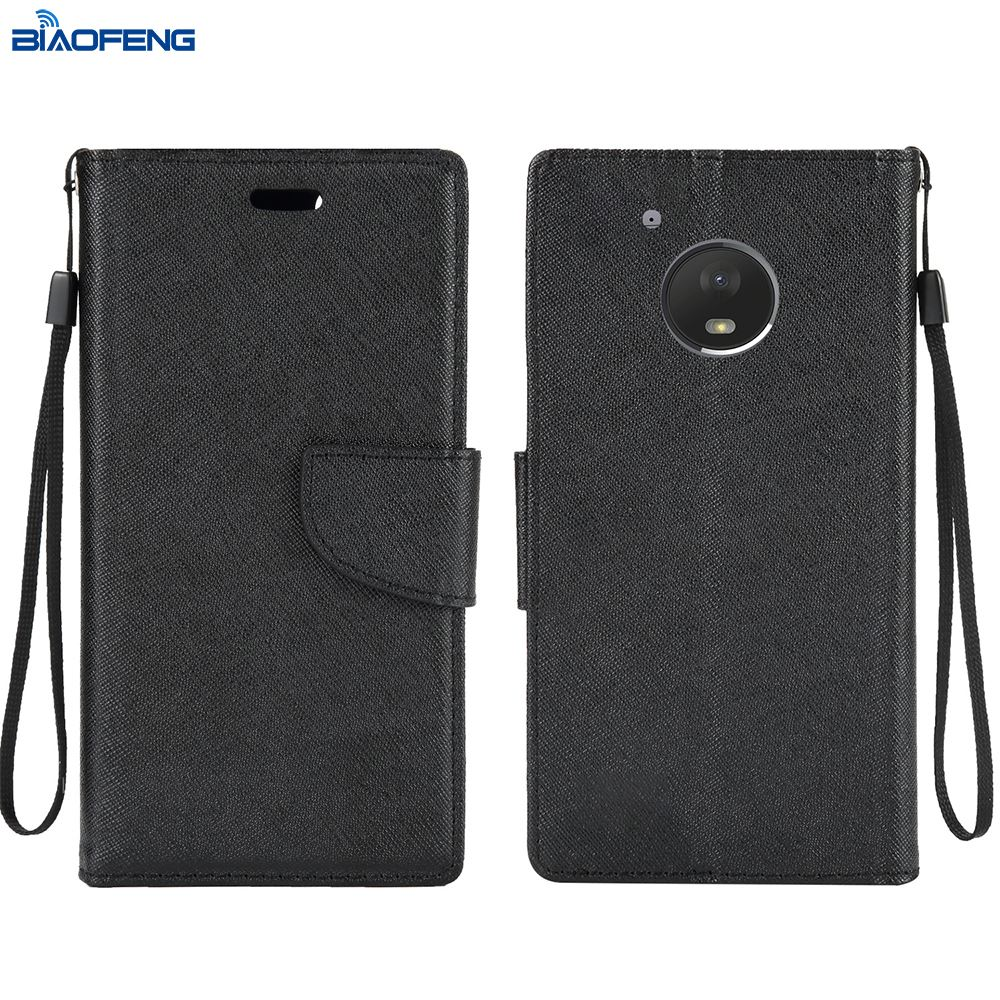 2018 Mobile Cover Bulk Cell Phonecase Universal Flip Card Holder Leather Wallet Phone Case For Moto E4 Plus
