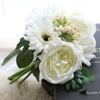 New fashion 27cm artificial silk fake chrysanthemu flowers for funeral