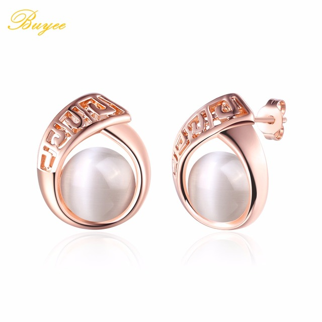 BUYEE New Hot Rose Gold Color Stud Earrings Fashion Fine Jewelry Opal Earrings For Women Girl Wedding Gifts Boucles D'Oreille