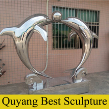 Stainless Steel Dolphin with Ball Statue Sculpture for Outdoor Decoration