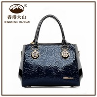 2016 Lady fashion designer PU high quality handbag oem women's custom hand bag label embossed leather handbag patterns free