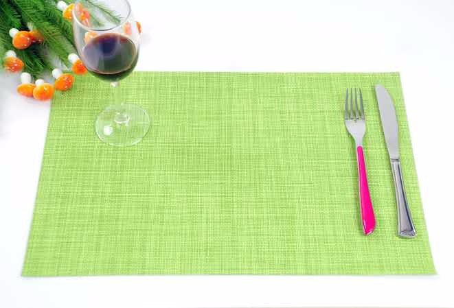 High quality 45*30cm PVC silver woven mesh placemat 8*8 gold color placemat table mat runner dining mat